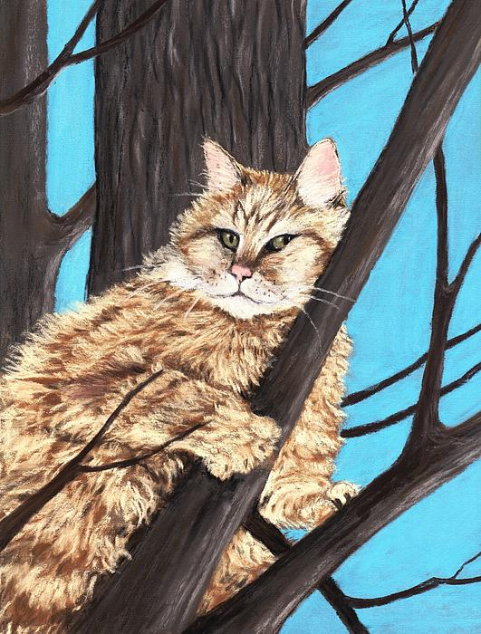 Cat On A Tree Painting