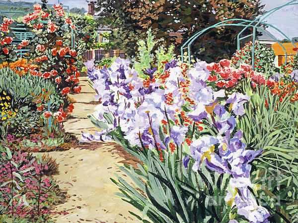 Gardens Painting -  Monets Garden Walk by David Lloyd Glover
