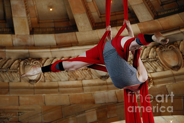50 States In 50 Days Photograph - Aerial Ribbon Performer At Pennsylvanian Grand Rotunda by Amy Cicconi