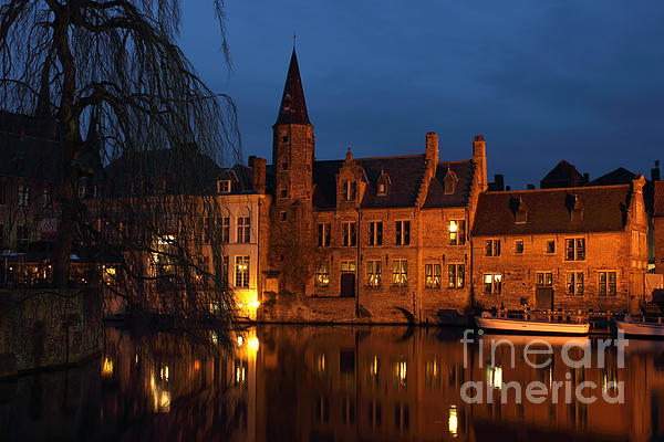 Architecture Photograph - Bruges Rozenhoedkaai Night Scene by Kiril Stanchev