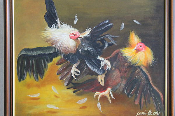 Sabong Is Called Fowl Gaming In The Phils. One Of The Famous Game & Amusement Sports In The Country. Painting - Cockfight  by Gani Banacia