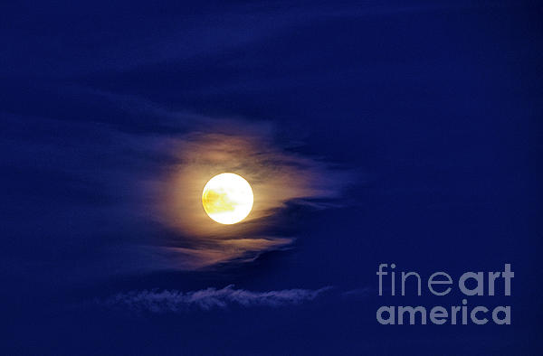 Full Moon Photograph - Full Moon With Clouds by Thomas R Fletcher