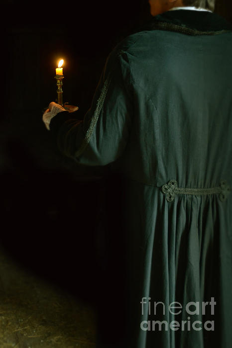 Young Photograph - Gentleman In 18th Century Clothing With A Candle by Jill Battaglia