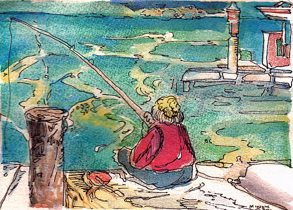 Fishing Painting - Gone Fishing by Mindy Newman