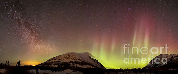 Atmospheric Mood Photograph - Red Aurora Borealis And Milky Way by Joseph Bradley