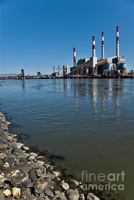 Industrial Photograph - Smokestacks Near Randall Island by Amy Cicconi