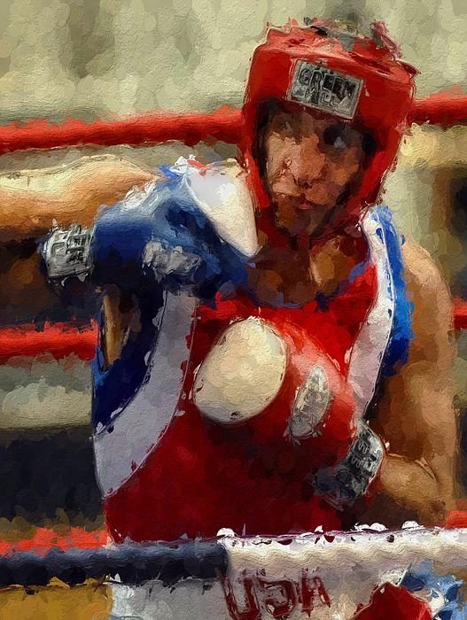 Fight Fighter Boxer Boxing Man Ring  Sport Sparring  Painting - The Fighter by Stefan Kuhn