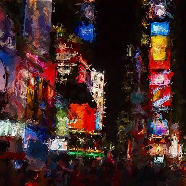 Times Square Night Color Colorful Lights Neon Expressionism Impressionism Urban City Skyscraper New York Nyc Big Apple  Painting - Times Square By Night by Stefan Kuhn