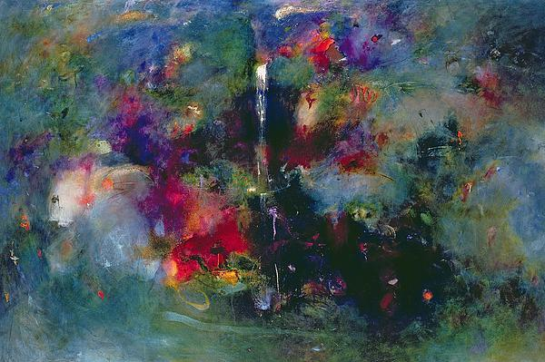 Colourful; Abstract; Waterfall; Atmospheric Painting - Valley Of The Waterfalls by Jane Deakin