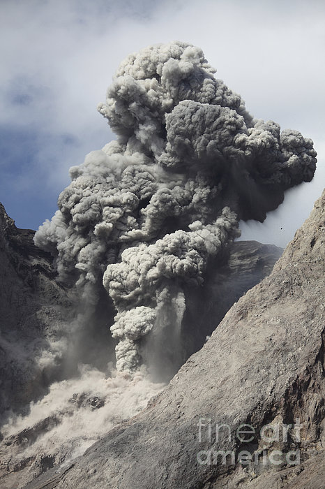 Vertical Photograph - Ash Cloud Rises From Crater Of Batu by Richard Roscoe