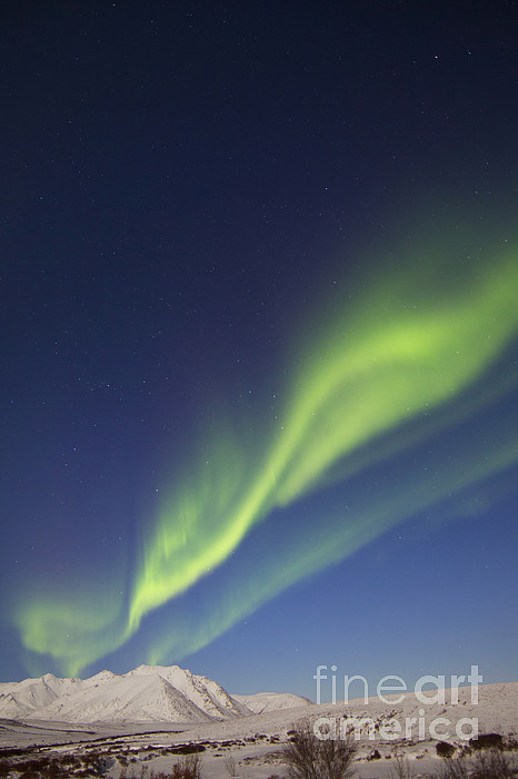 Atmospheric Mood Photograph - Aurora Borealis With Moonlight by Joseph Bradley