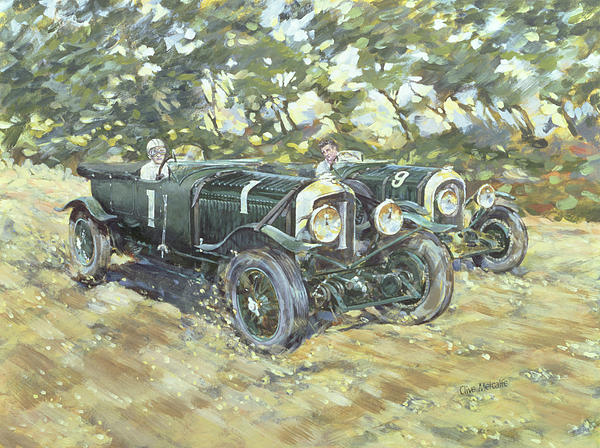 Classic Painting - 1929 Le Mans Winning Bentleys by Clive Metcalfe