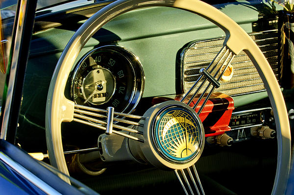 1956 Volkswagen Vw Bug Photograph - 1956 Volkswagen Vw Bug Steering Wheel 2 by Jill Reger