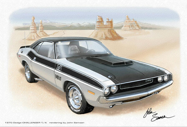 1970 Challenger T-a Dodge Muscle Car Sketch Rendering Painting