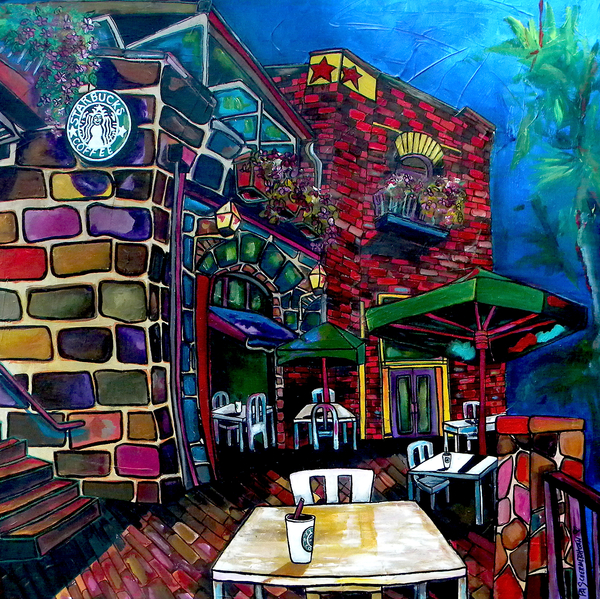 Downtown starbucks painting by patti schermerhorn for Wine and paint san antonio