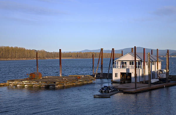 Floating House On The Columbia River Oregon. Photograph  - Floating House On The Columbia River Oregon. Fine Art Print