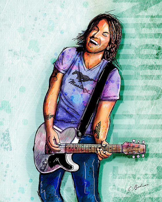 Keith Urban Digital Art  - Keith Urban Fine Art Print