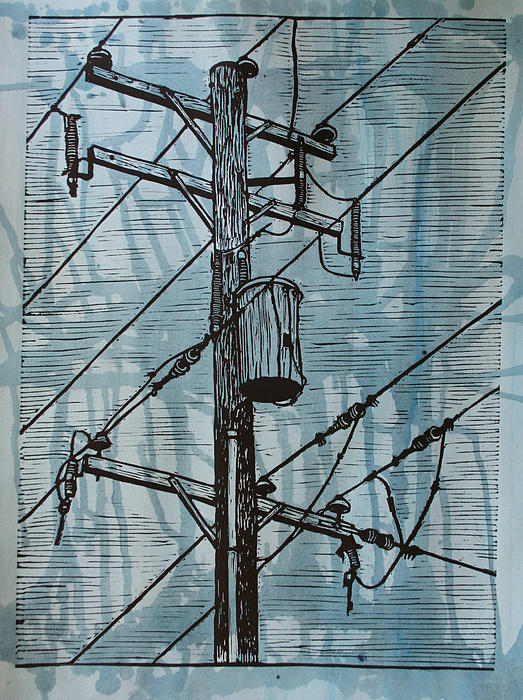 Pole With Transformer Drawing  - Pole With Transformer Fine Art Print