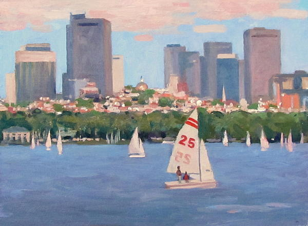 Sailboat Painting - 25 On The Charles by Dianne Panarelli Miller