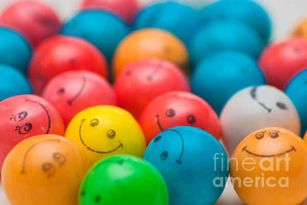 A Lot Photograph - Smiley Face Gum Balls by Amy Cicconi