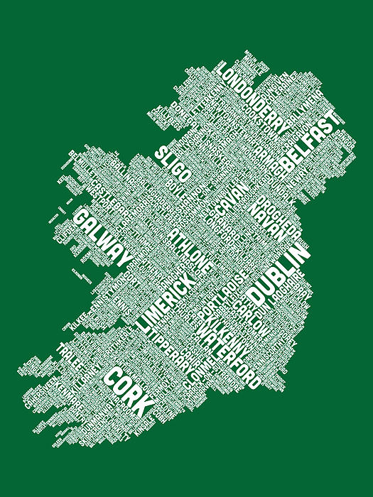 Ireland Map Digital Art - Ireland Eire City Text Map by Michael Tompsett