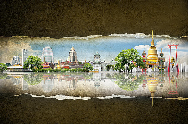 Ancient Digital Art - Background Travel Concept by Potowizard Thailand