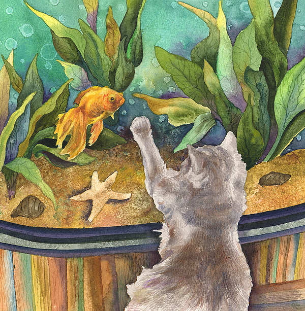 A cat and a fish tank painting by anne gifford for Fish tank paint