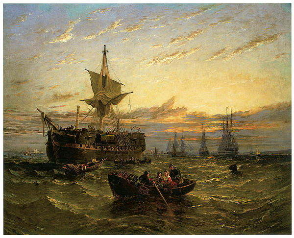 William Adolphus Knell Painting - A Dismantled East Indiaman In The Thames Estuary by William Adolphus Knell