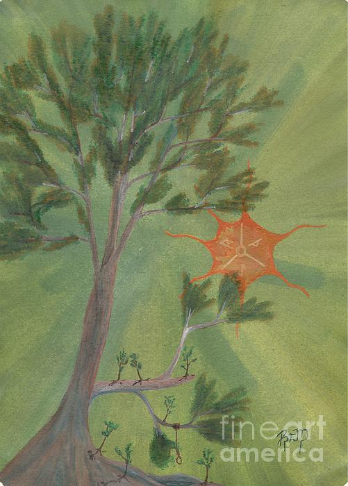 Watercolor Painting - A Great Tree Grows by Robert Meszaros