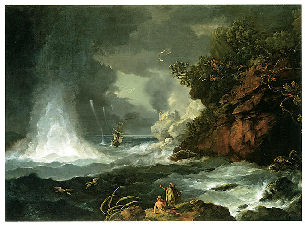 William Hodges Painting - A View Of Cape Stephens In Cooks Straits With Waterspout by William Hodges
