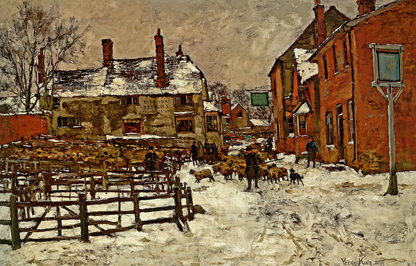 Henry King Digital Art - A Village In The Snow by Henry King
