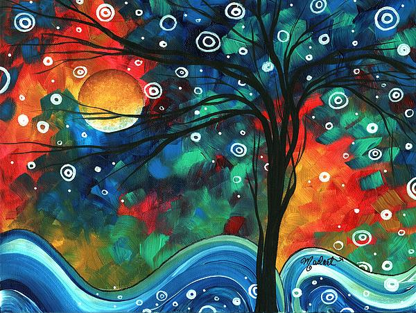 Megan Duncanson - Abstract Art Original Landscape Colorful Painting FIRST SNOW FALL by MADART