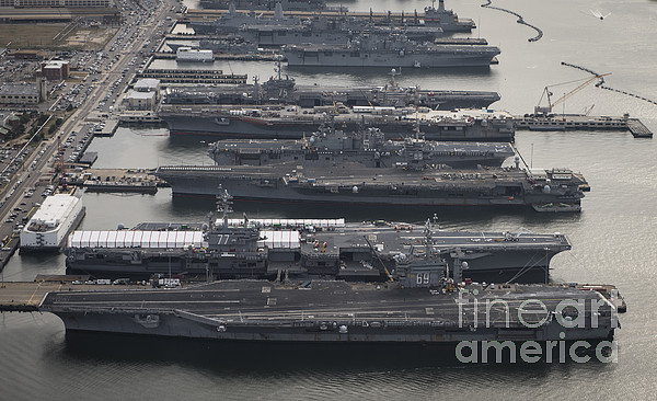 Military Photograph - Aircraft Carriers In Port At Naval by Stocktrek Images