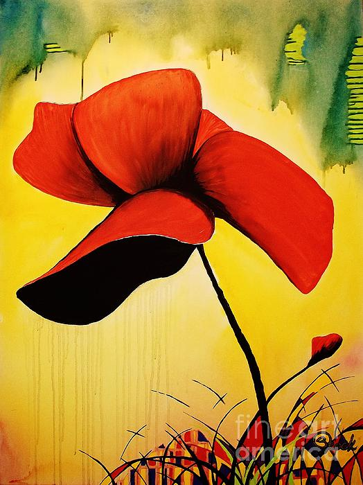 Contemporary Painting - American Poppy by Kyle  Brock