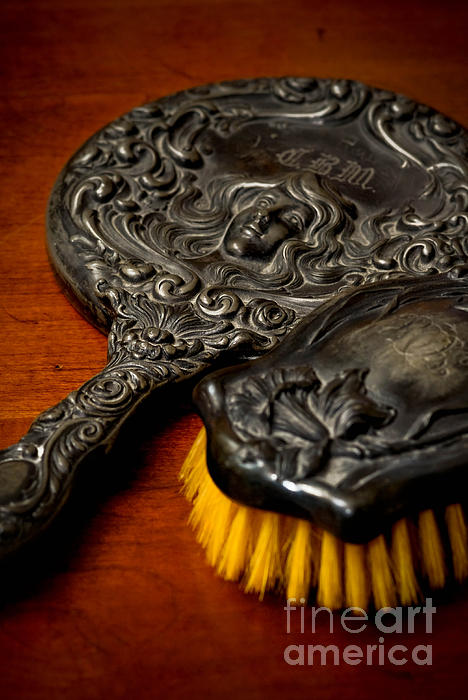 Antique Photograph - Antique Mirror And Brush by Amy Cicconi