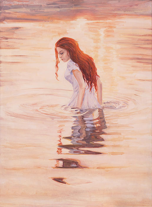 Water Girl Sunrise Bath New Day Reflection Red Hair  Painting - Aurora by Marco Busoni
