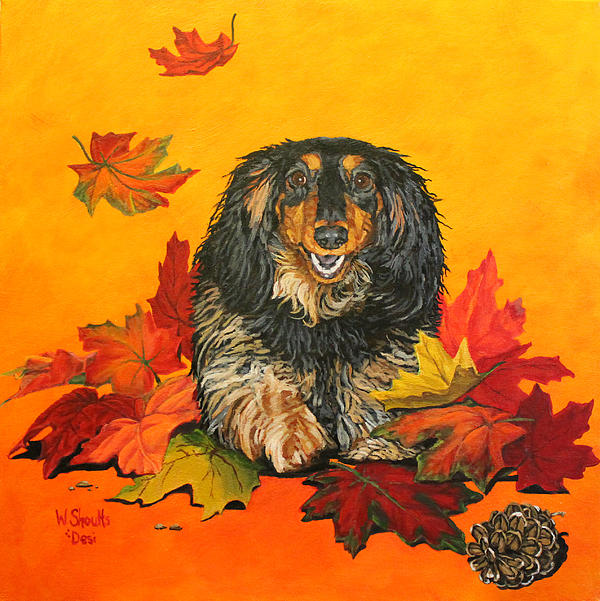 Daschund Painting - Autumn Fun by Wendy Shoults