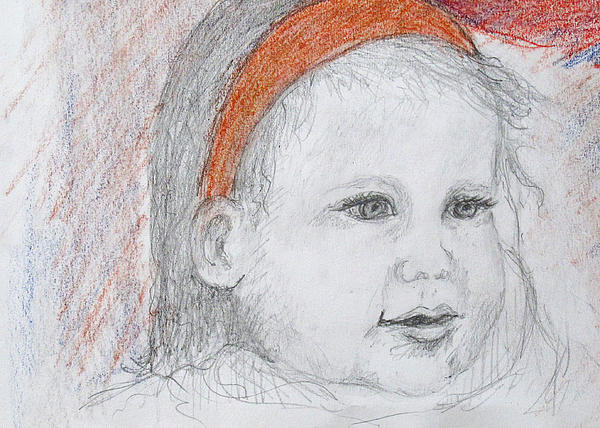 Child Portrait On White Paper In Pencil And  Drawing - Baby Josephine by Barbara Anna Knauf