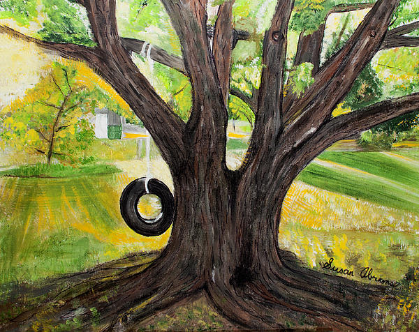 Backyard Painting - Backyard Tree Memories by Susan Abrams