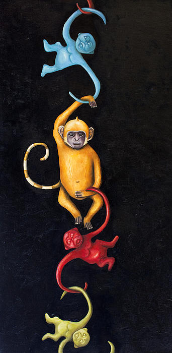 Monkey Painting - Barrel Of Monkeys by Leah Saulnier The Painting Maniac