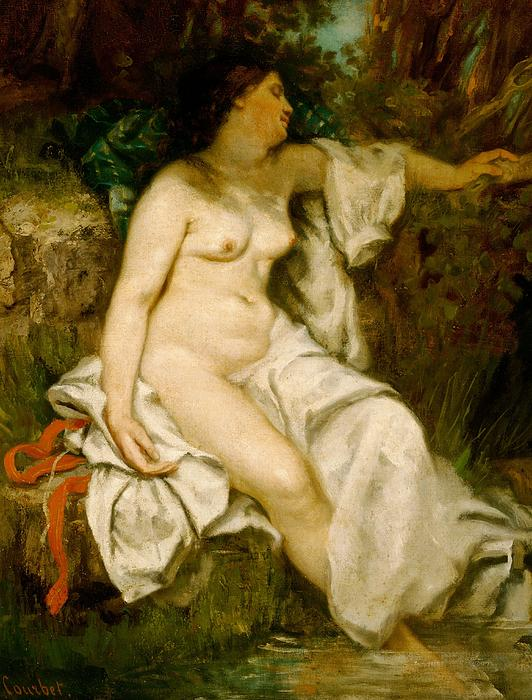 Bather; Sleeping; Brook; Female; Woman; Nude; Full Length; Reclining; Rest; Resting; Relaxing; Relaxation; Relaxed; Weary; Asleep; Leisure; Stream; River; Riverbank; Remote; Countryside; Rural; Unclothed Painting - Bather Sleeping By A Brook by Gustave Courbet
