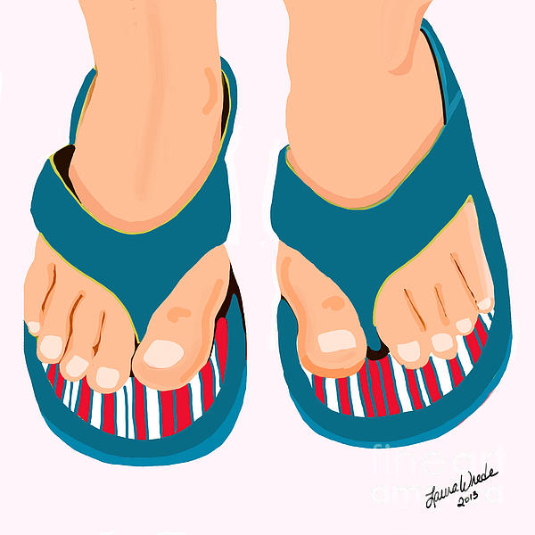 Beach Sandals Drawing  - Beach Sandals Fine Art Print