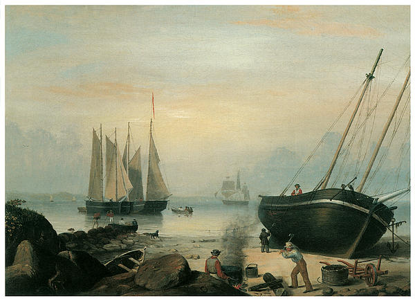 Fitz Hugh Lane Painting - Beached For Repairs Duncans Point Gloucester by Fitz Hugh Lane