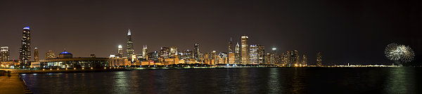 3scape Photos Photograph - Beautiful Chicago Skyline With Fireworks by Adam Romanowicz