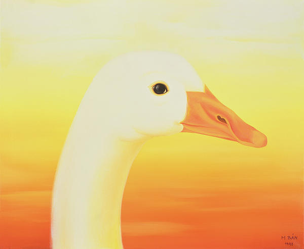 Goose; Head; Beak; Bird; Sunset; Sunrise; Surreal; Graceful; Sunlight; Fowl Painting - Beauty by Magdolna Ban