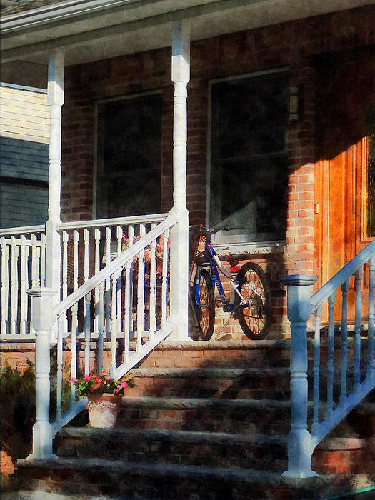 Bicycle On Porch Photograph