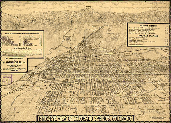 Birdseye Map Of Colorado Springs Drawing  - Birdseye Map Of Colorado Springs Fine Art Print