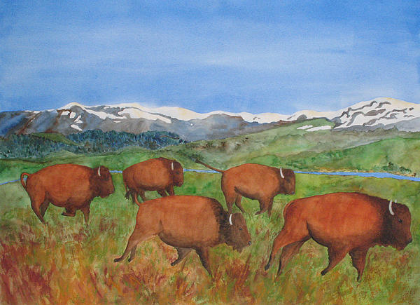 Landscape Painting - Bison At Yellowstone by Patricia Beebe