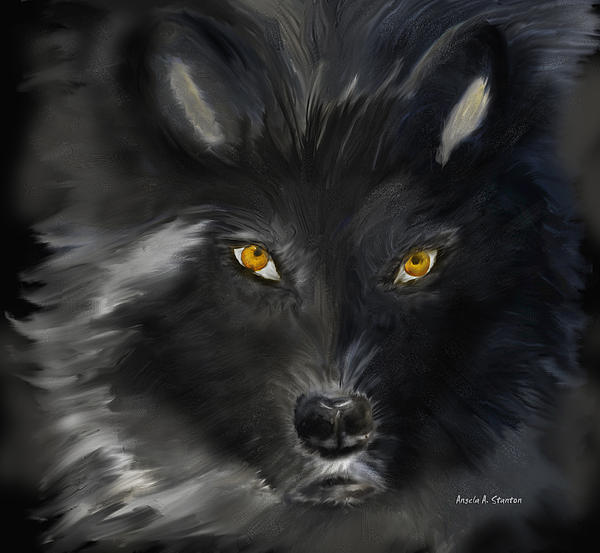 Angela A Stanton - Black Wolf with Yellow Eyes