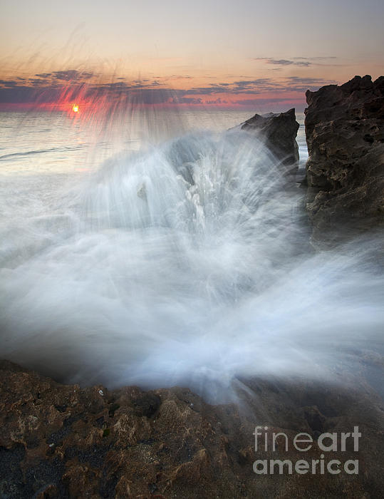 Explosive Photograph - Blowing Rocks Sunrise Explosion by Mike  Dawson